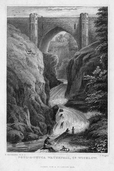 Poul a Phuca Waterfall, County Wicklow, 1829-J Rogers-Giclee Print