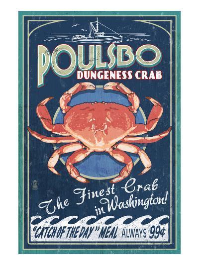 Poulsbo, Washington - Dungeness Crab-Lantern Press-Art Print