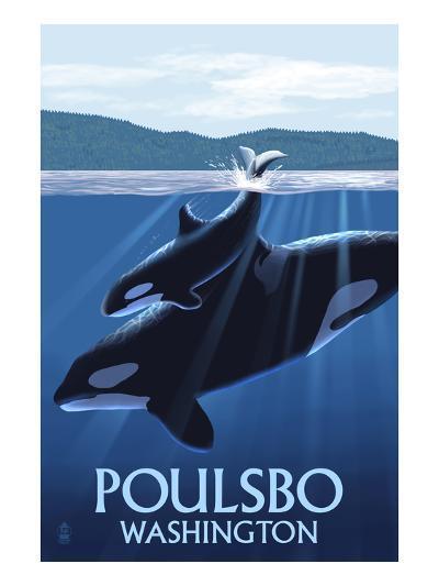 Poulsbo, Washington - Orca and Calf-Lantern Press-Art Print