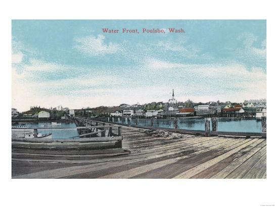 Poulsbo, Washington - View of the Waterfront-Lantern Press-Art Print