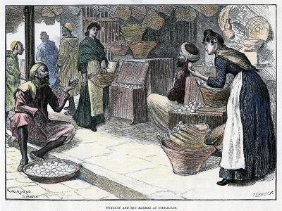 Poultry and Egg Market in Gibraltar, C1880-P Naumann-Giclee Print