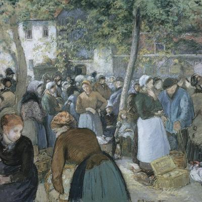 Poultry Market, Gisors-Camille Pissarro-Giclee Print