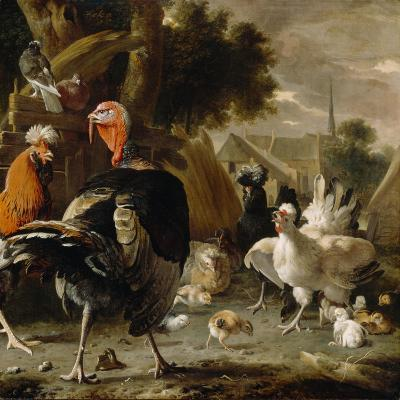 Poultry Yard, c.1668-Melchior De Hondecoeter-Giclee Print