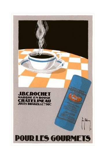 Pour Les Gourmets Coffee, Cup on Tablecloth-Found Image Press-Giclee Print