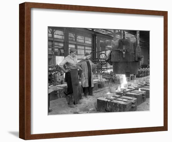 Pouring a Small Casting at Edgar Allens Steel Foundry, Sheffield, South Yorkshire, 1963-Michael Walters-Framed Photographic Print