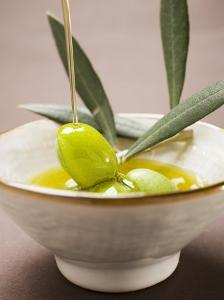 Pouring Olive Oil Over Olive Sprig with Green Olives