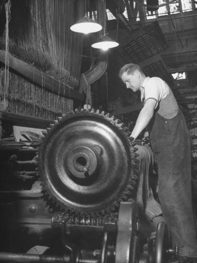 Power Loom at Work Making an Axminster Carpet at the Wilton Carpet Factory-Hans Wild-Premium Photographic Print