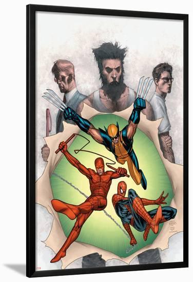 Powerless No.6 Cover: Wolverine, Daredevil, Matt Murdock, Spider-Man, Peter Parker, Logan-Steve MCNiven-Lamina Framed Poster