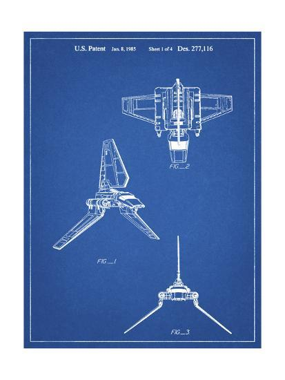 PP100-Blueprint Star Wars Lambda Class T-4a Imperial Shuttle Patent Poster-Cole Borders-Giclee Print