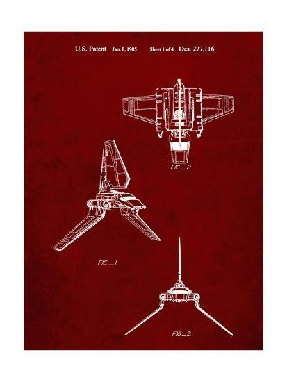 PP100-Burgundy Star Wars Lambda Class T-4a Imperial Shuttle Patent Poster-Cole Borders-Giclee Print