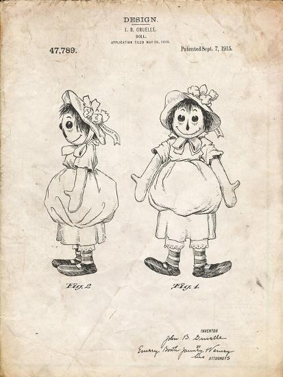 PP1005-Vintage Parchment Rag Doll Poster-Cole Borders-Giclee Print