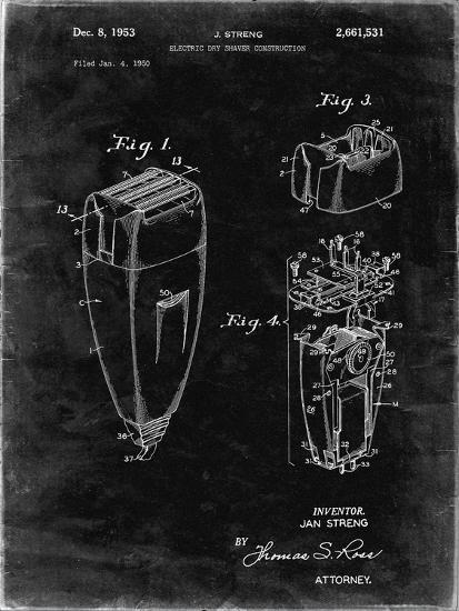 PP1011-Black Grunge Remington Electric Shaver Patent Poster-Cole Borders-Giclee Print