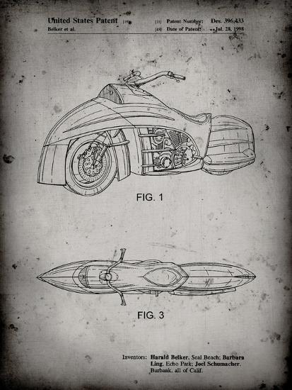 PP1015-Faded Grey Robin Motorcycle Patent Poster-Cole Borders-Giclee Print