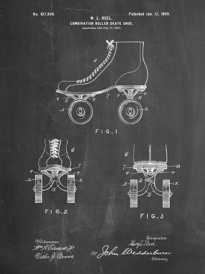PP1019-Chalkboard Roller Skate 1899 Patent Poster-Cole Borders-Giclee Print