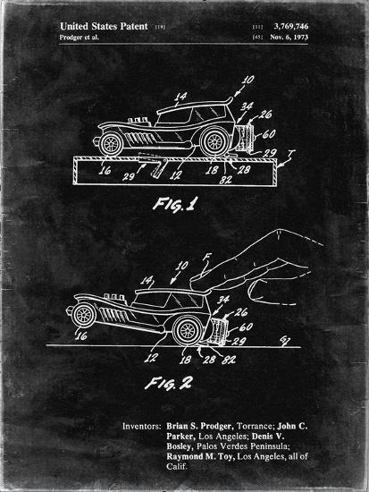 PP1020-Black Grunge Rubber Band Toy Car Patent Poster-Cole Borders-Giclee Print