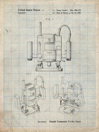 PP1025-Antique Grid Parchment Ryobi Portable Router Patent Poster-Cole Borders-Giclee Print