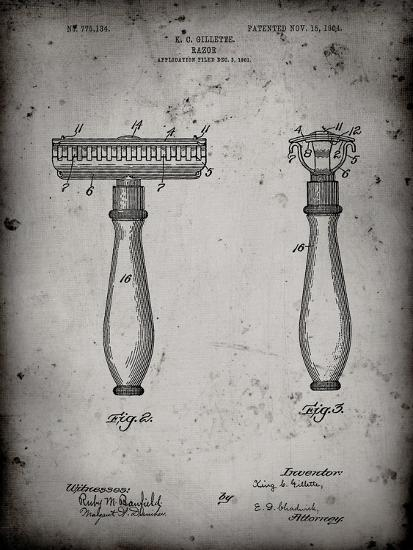 PP1026-Faded Grey Safety Razor Patent Poster-Cole Borders-Giclee Print