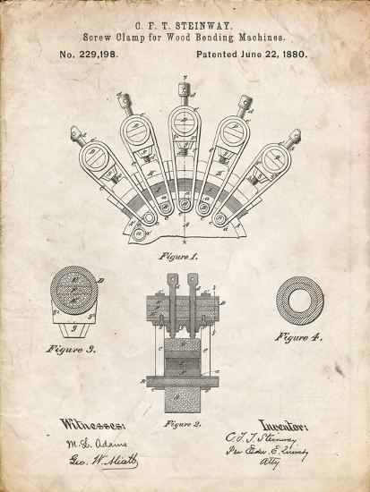 PP1031-Vintage Parchment Screw Clamp 1880  Patent Poster-Cole Borders-Giclee Print