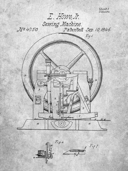 PP1035-Slate Singer Sewing Machine Patent Poster-Cole Borders-Giclee Print
