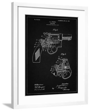 PP1044-Vintage Black Smith and Wesson Revolver Pistol-Cole Borders-Framed Giclee Print