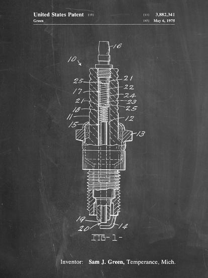 PP1051-Chalkboard Spark Plug Patent Poster-Cole Borders-Giclee Print
