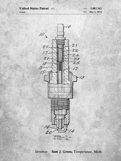 PP1051-Slate Spark Plug Patent Poster-Cole Borders-Giclee Print