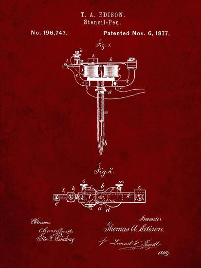 PP1065-Burgundy Stencil Pen Patent Art-Cole Borders-Giclee Print
