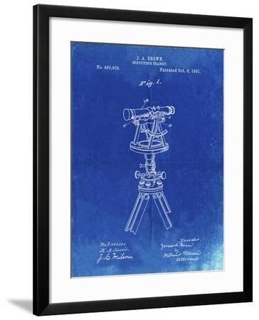 PP1075-Faded Blueprint Surveyor s Transit-Cole Borders-Framed Giclee Print