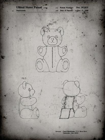 PP1085-Faded Grey Teddy Bear Poster-Cole Borders-Giclee Print