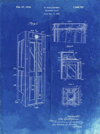 PP1088-Faded Blueprint Telephone Booth Patent Poster-Cole Borders-Giclee Print