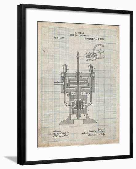 PP1094-Antique Grid Parchment Tesla Reciprocating Engine Poster-Cole Borders-Framed Giclee Print