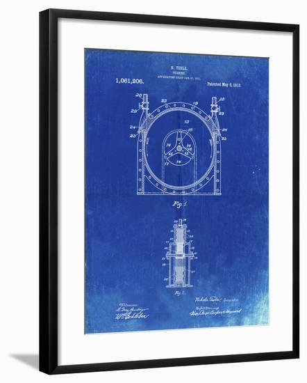 PP1097-Faded Blueprint Tesla Turbine Patent Poster-Cole Borders-Framed Giclee Print