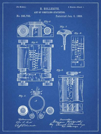 PP110-Blueprint Hollerith Machine Patent Poster-Cole Borders-Giclee Print