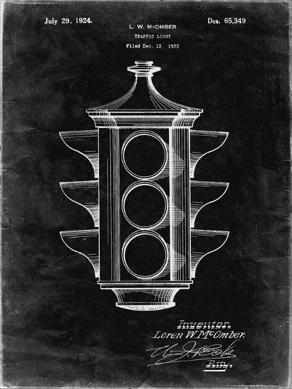 PP1109-Black Grunge Traffic Light 1923 Patent Poster-Cole Borders-Giclee Print