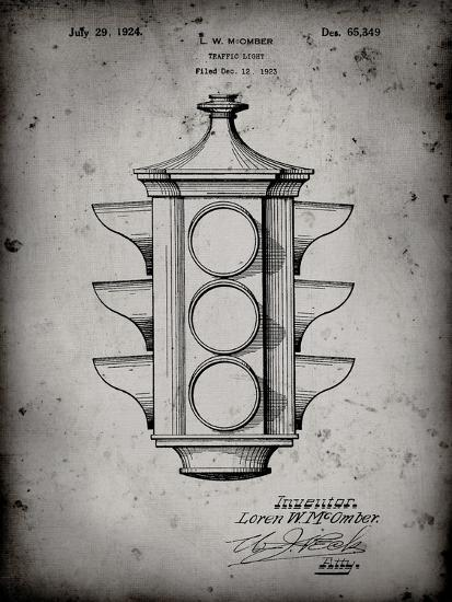 PP1109-Faded Grey Traffic Light 1923 Patent Poster-Cole Borders-Giclee Print