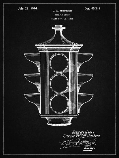 PP1109-Vintage Black Traffic Light 1923 Patent Poster-Cole Borders-Giclee Print