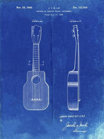 PP1117-Faded Blueprint Ukulele Patent Poster-Cole Borders-Giclee Print