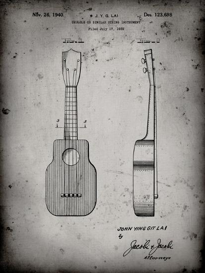 PP1117-Faded Grey Ukulele Patent Poster-Cole Borders-Giclee Print