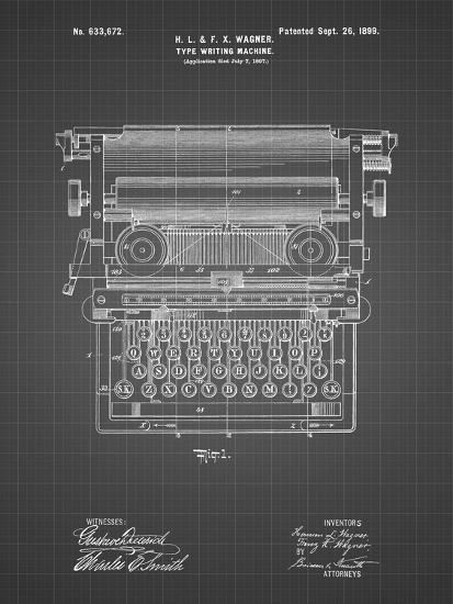 PP1118-Black Grid Underwood Typewriter Patent Poster-Cole Borders-Giclee Print