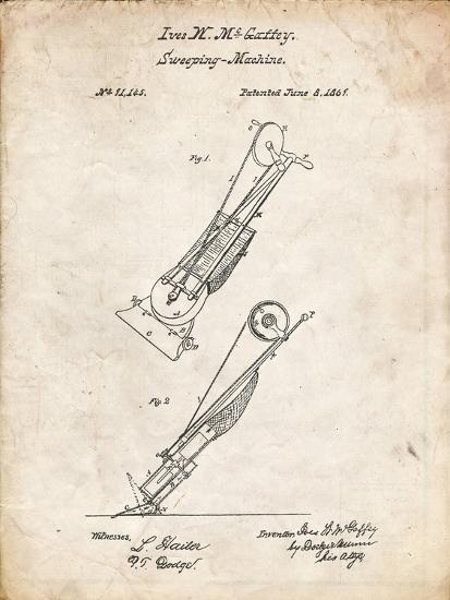 PP1121-Vintage Parchment Vaccuum Cleaner Patent-Cole Borders-Giclee Print