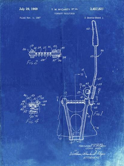 PP1122-Faded Blueprint Vibrato Tailpiece Patent Wall Art Poster-Cole Borders-Giclee Print