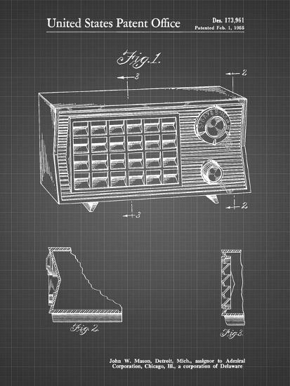 PP1126-Black Grid Vintage Table Radio Patent Poster-Cole Borders-Giclee Print