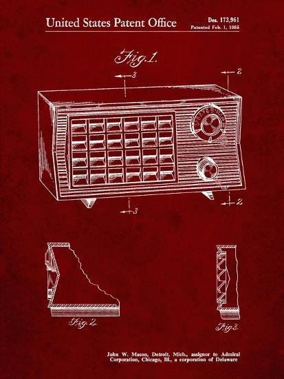 PP1126-Burgundy Vintage Table Radio Patent Poster-Cole Borders-Giclee Print