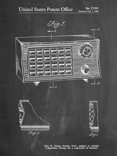 PP1126-Chalkboard Vintage Table Radio Patent Poster-Cole Borders-Giclee Print