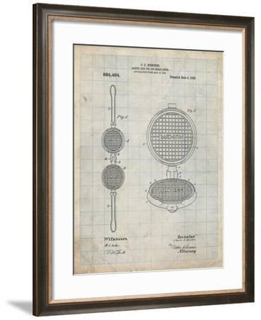PP1130-Antique Grid Parchment Waffle Iron for Ice Cream Cones 1909 Patent Poster-Cole Borders-Framed Giclee Print