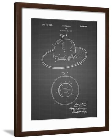 PP1134-Black Grid Wide Brimmed Hat 1937 Patent Poster-Cole Borders-Framed Giclee Print