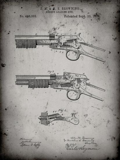 PP1135-Faded Grey Winchester Model 1890 Gun Patent-Cole Borders-Giclee Print