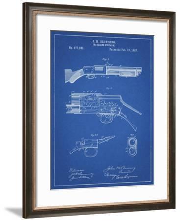 PP1136-Blueprint Winchester Model 1897 Shotgun-Cole Borders-Framed Giclee Print