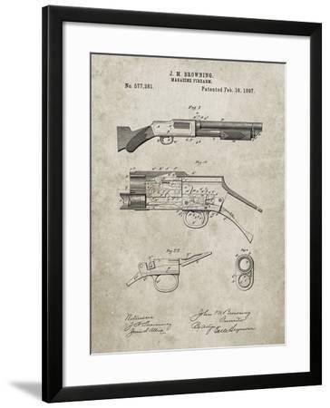 PP1136-Sandstone Winchester Model 1897 Shotgun-Cole Borders-Framed Giclee Print