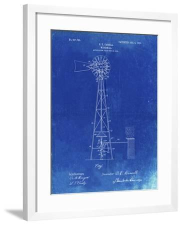 PP1137-Faded Blueprint Windmill 1906 Patent Poster-Cole Borders-Framed Giclee Print